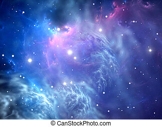 Blue space nebula