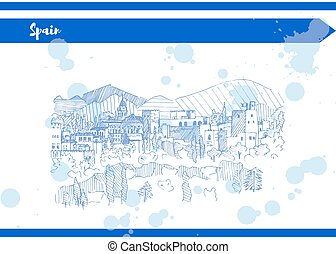Blue spain castle on the mountain sketch liner vector