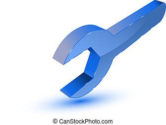 Blue spanner symbol