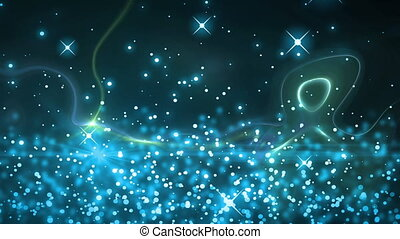 Blue sparkles and glowing spots moving against abstract ...