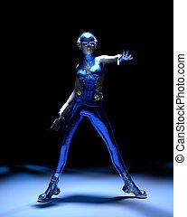 Blue sparkling cyber girl