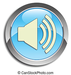 Blue speaker button - Blue icon with speaker pictogram