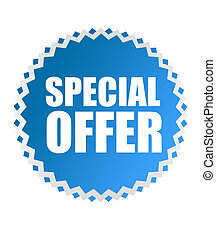 blue special offer tag over white background. illustration