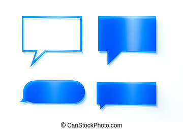 Blue speech bubble on mobile phone. Social media. 3d rendering.