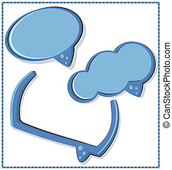 blue speech bubble with a frame - vector