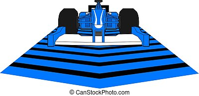 blue speed racing car