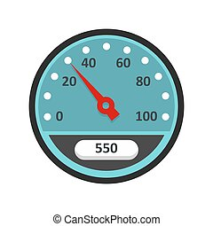 Speedometer icon, flat style. Speedometer icon in red ...