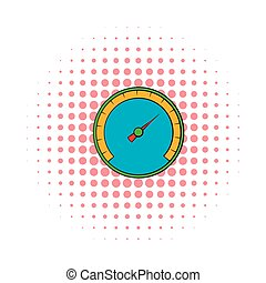 Blue speedometer icon in comics style
