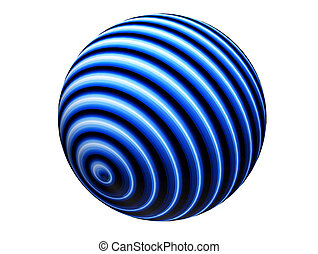 Blue sphere - Blue lines sphere over white background. ...