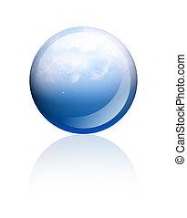 Blue sphere - Blue sky sphere over white background. ...