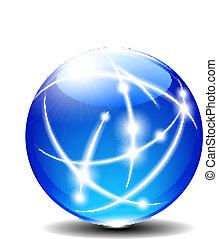 Blue Sphere - Transparent Blue Communication Internet Globe