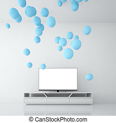 Blue spheres are generated by Smart TV in a room