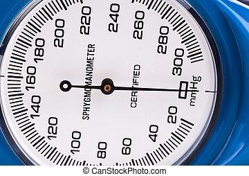 Blue Sphygmomanometer close-up isolated on white background