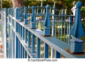 Blue spike fence