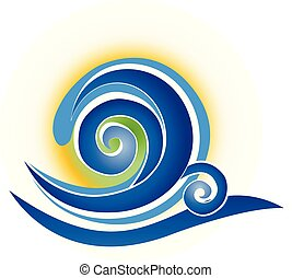 Blue spiral abstract wave vector