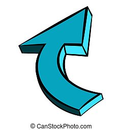 Blue spiral arrow icon, icon cartoon