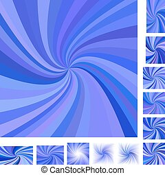 Blue spiral background set