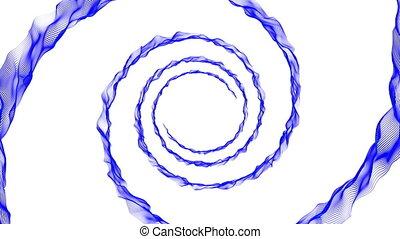 Blue spiral on white