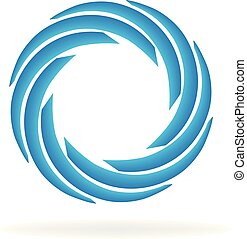 Blue spiral wave abstract vector