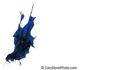 blue splash. big spilling in slow motion. oil