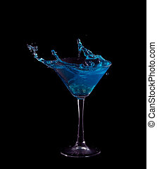 blue splash in glass