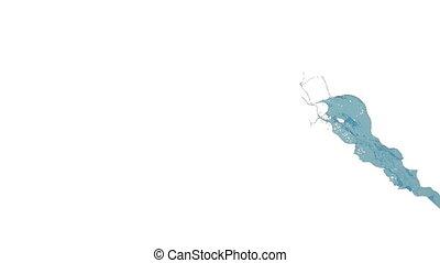 blue splash in slow motion. big splashes