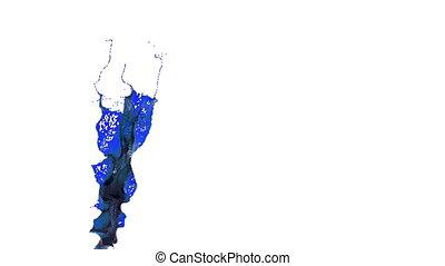blue splash in the air. slow motion. oil
