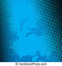 Blue paint splatter textured vector background with black halftone dots.