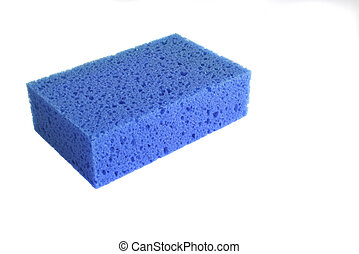 Blue sponge background isolated in a white background
