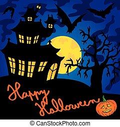 Blue spooky house 01