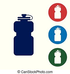 Blue Sport bottle with water icon isolated on white background. Set color icon in circle buttons. Vector Illustration