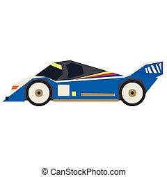 Blue sport car flat illustration on white