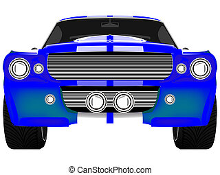 blue sport car front isolated on white, abstract art...