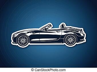 Blue sport car over blue paper