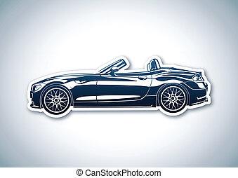 Blue sport car over paper