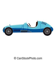 Blue sport car side view icon, isometric 3d style