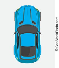 Blue sport car, top view in flat style isolated on a white background