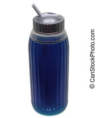 Blue Sport Drink - Blue sport drink in a clear plastic sippy...