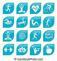 Blue sport Fitness icons buttons.
