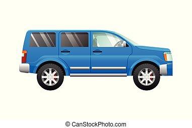 Blue Sport Utility Car in Simple Cartoon Style