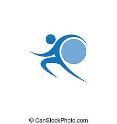 Blue sportman and world