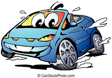 Blue Sports Car Mascot racing - Vector Cartoon illustration ...