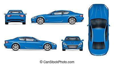 Blue sports car realistic vector illustration
