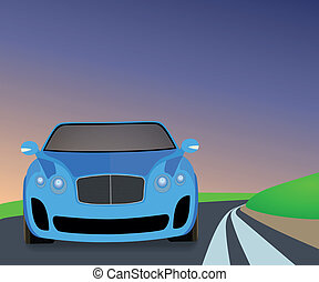 Blue sports car traveling on the road to turn.