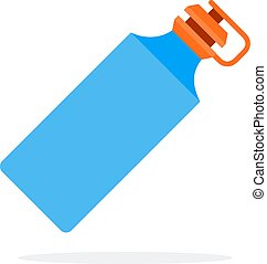 Blue sports plastic water bottle flat isolated