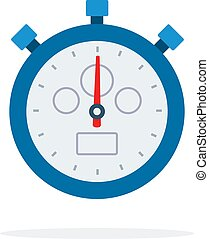 Blue sports stopwatch flat isolated