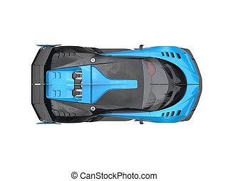 Blue sports supercar - top down view