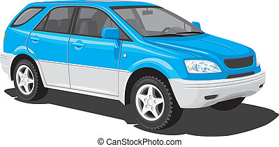 Blue sports utility vehicle - Vector isolated SUV on white...