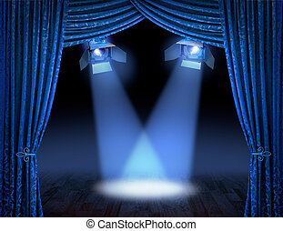 Blue theatre stage curtains with spotlights beams