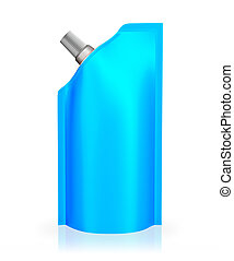 Blue spout pouch, bag foil or plastic packaging - isolated...